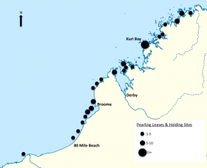 Map showing locations of Pearl Farms in the Kimberley