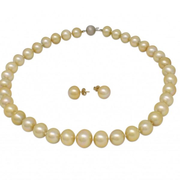 Gold Pearl Strand and matching gold Pearl earrings