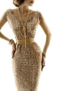 glamorous model wearing long pearl strand