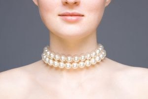 Model wearing two strand Pearl necklace