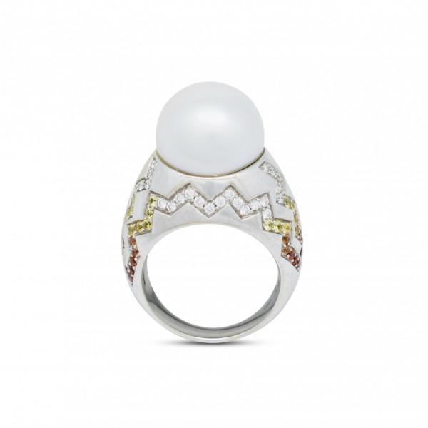 Pearl Diamond and Sapphire Ring