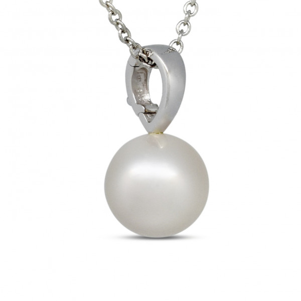 9ct White Gold 13mm Pearl Pendant
