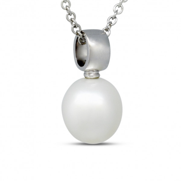 9ct White Gold 11mm Pearl Pendant