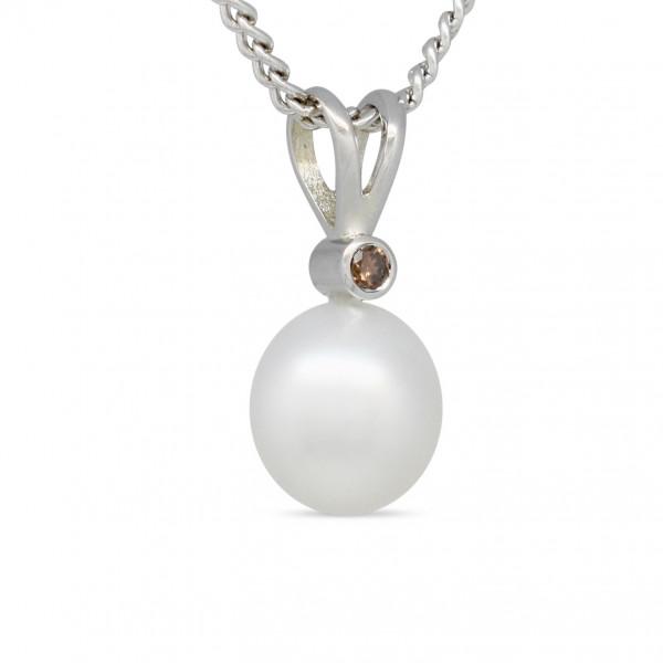 Gold Pearl and Diamond Pendant