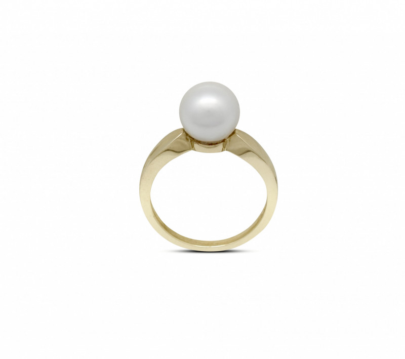 Yellow Gold 9mm Pearl Ring