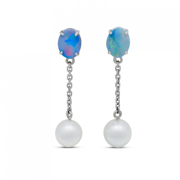Australian Opal and Pearl Earrings