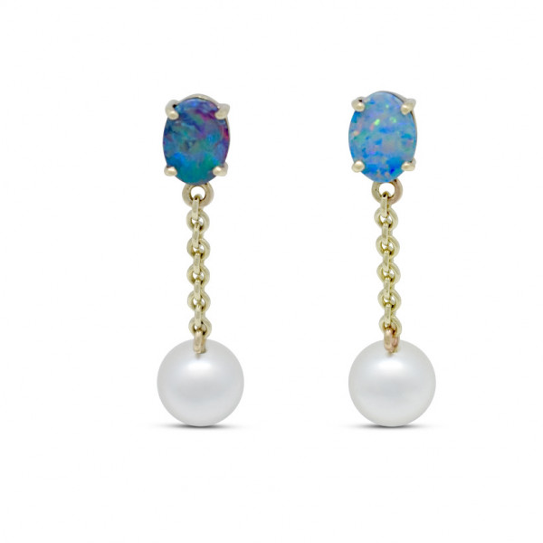 Opal and Pearl Earrings