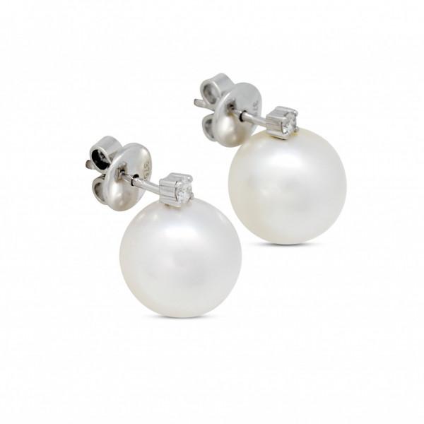 Diamond and Pearl Stud Earrings