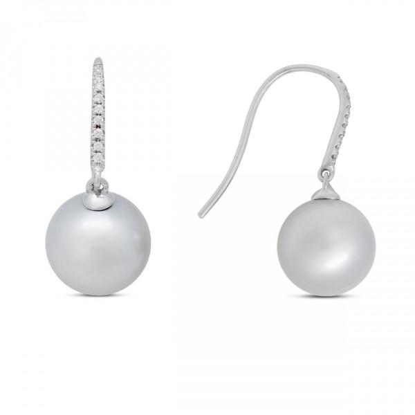 Pearl and Diamond Gold Earrings